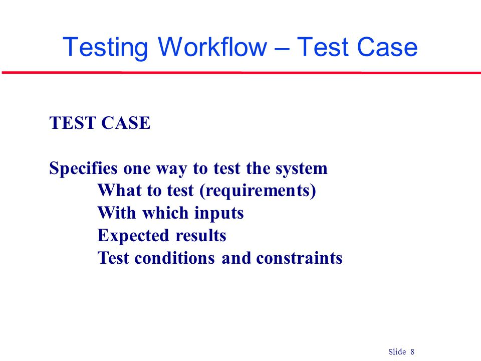 Testing Workflow – Test Case