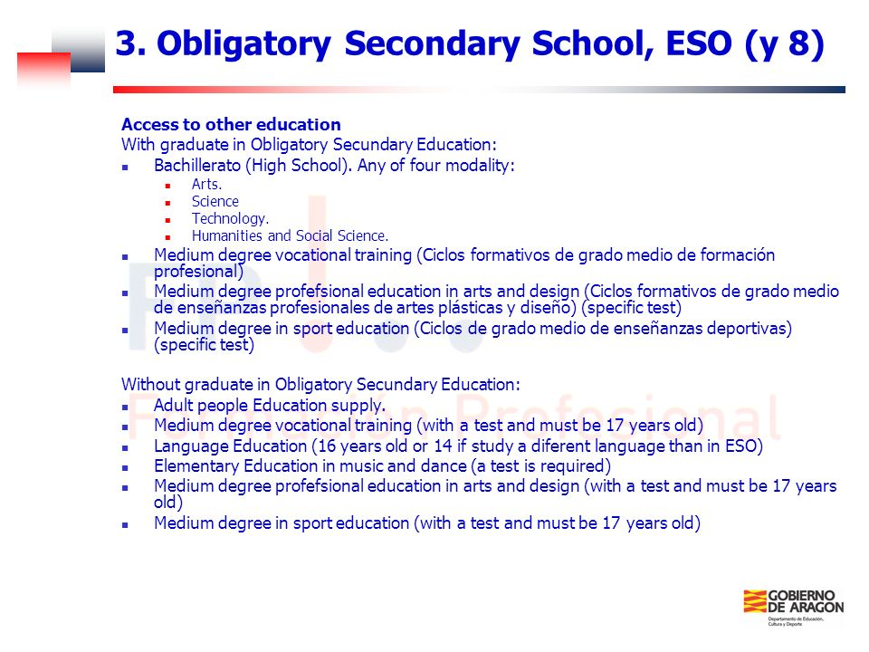 3. Obligatory Secondary School, ESO (y 8)