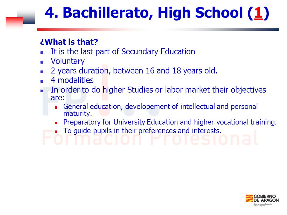 4. Bachillerato, High School (1)