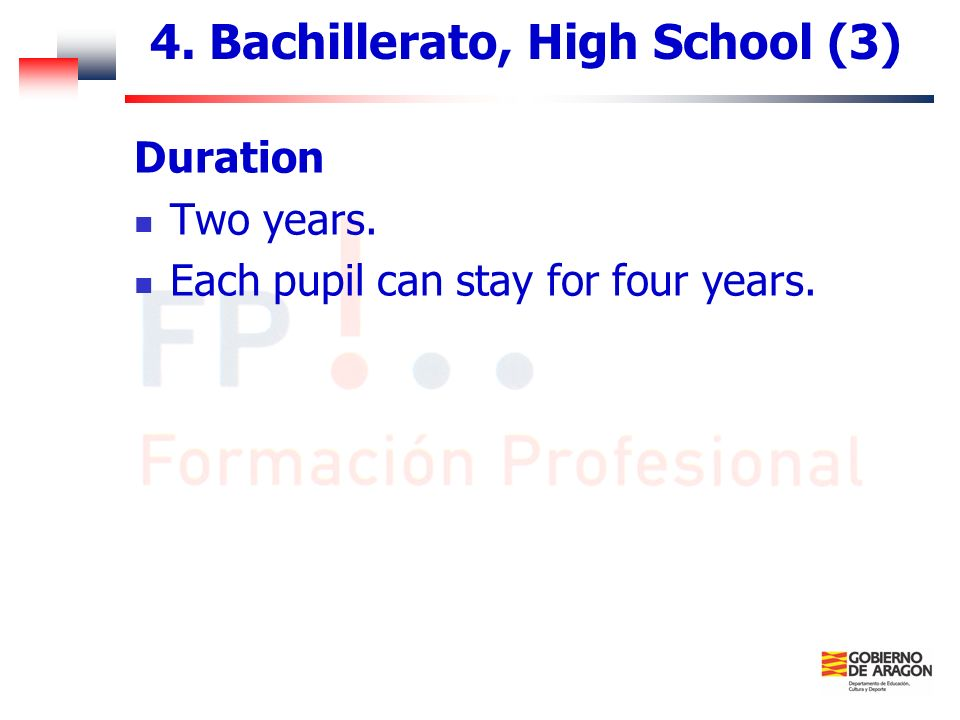 4. Bachillerato, High School (3)
