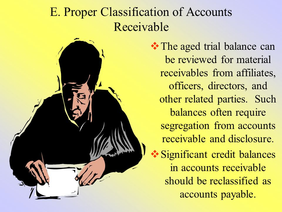 E. Proper Classification of Accounts Receivable