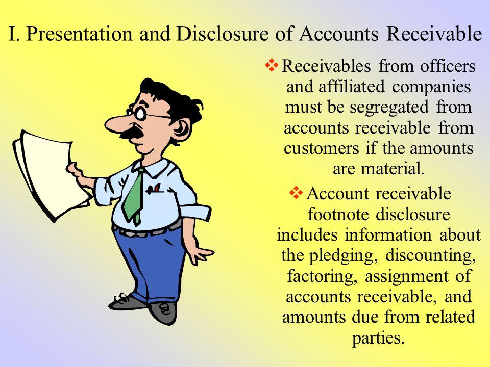 I. Presentation and Disclosure of Accounts Receivable