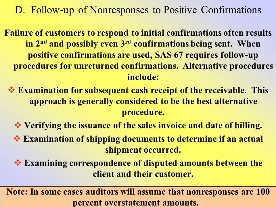 D. Follow-up of Nonresponses to Positive Confirmations