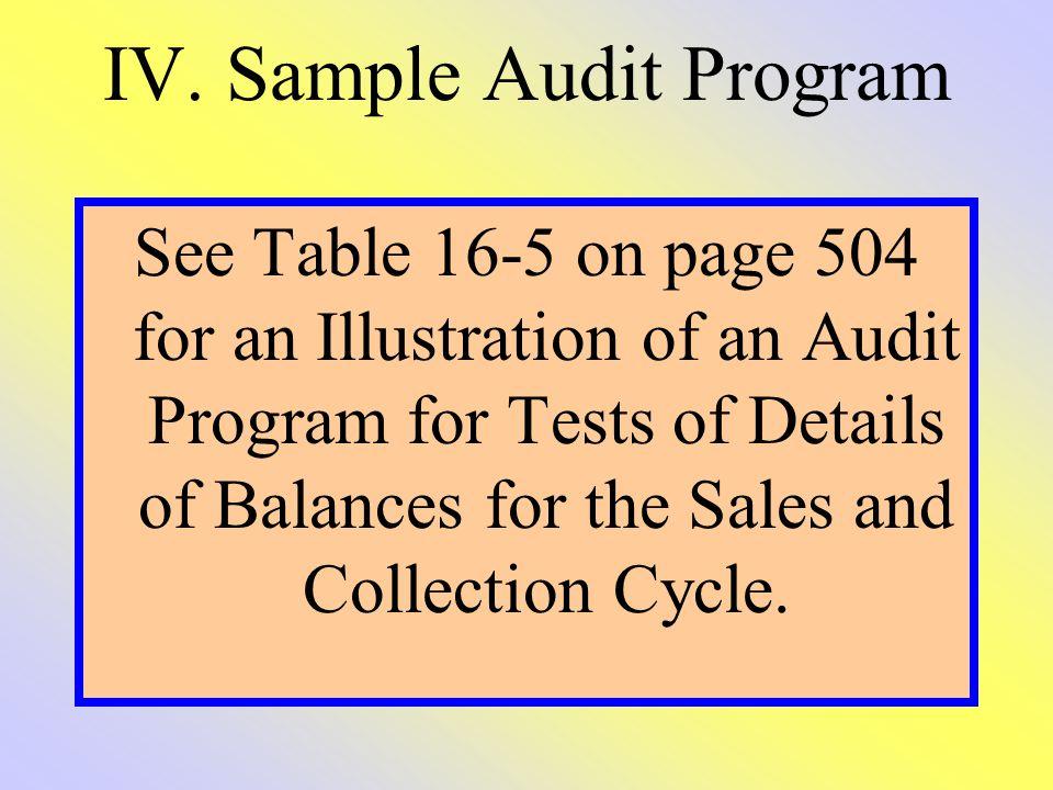 IV. Sample Audit Program