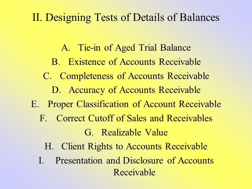 II. Designing Tests of Details of Balances