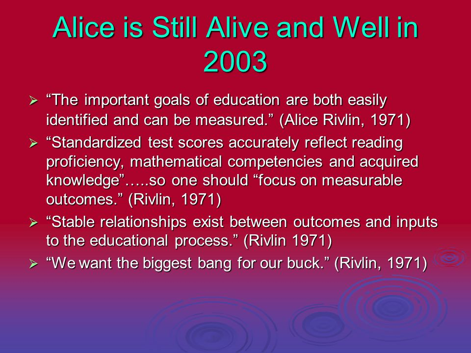Alice is Still Alive and Well in 2003