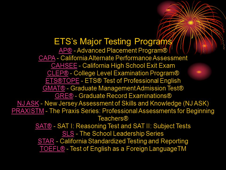 ETS's Major Testing Programs