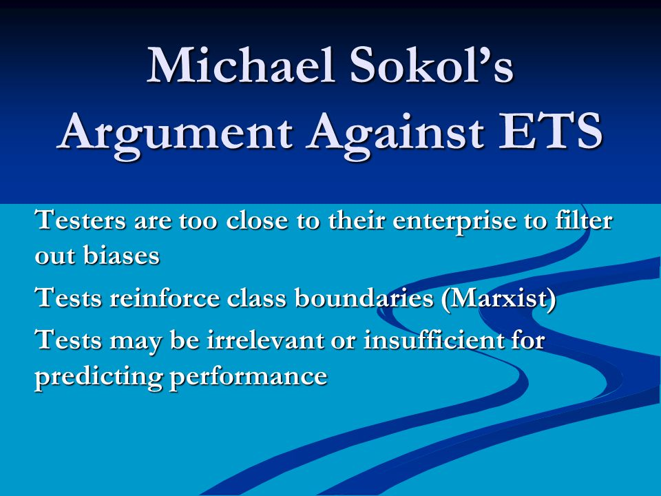 Michael Sokol's Argument Against ETS