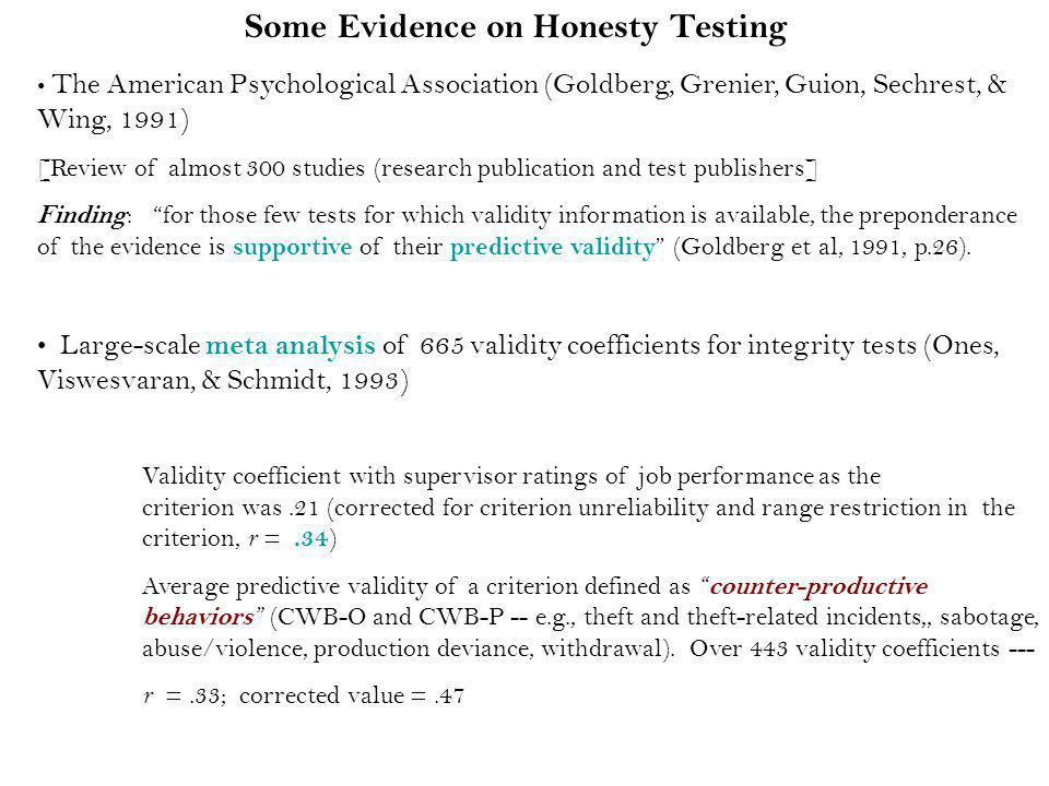 Some Evidence on Honesty Testing