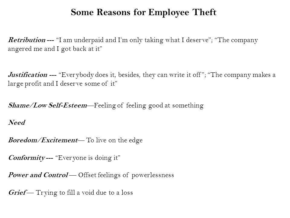 Some Reasons for Employee Theft