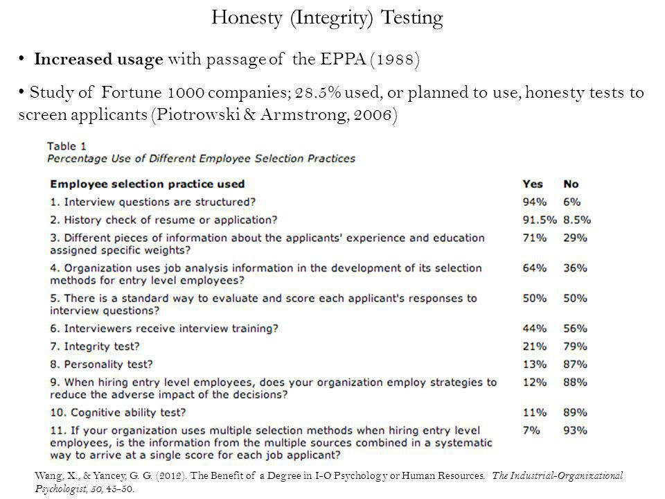 Honesty (Integrity) Testing