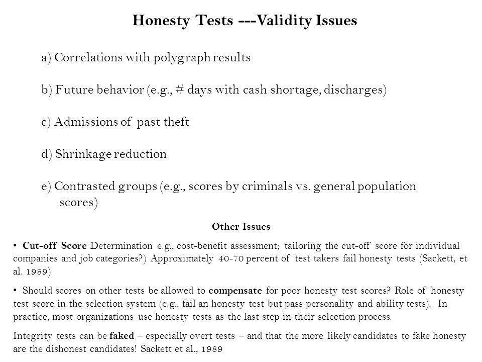 Honesty Tests ---Validity Issues