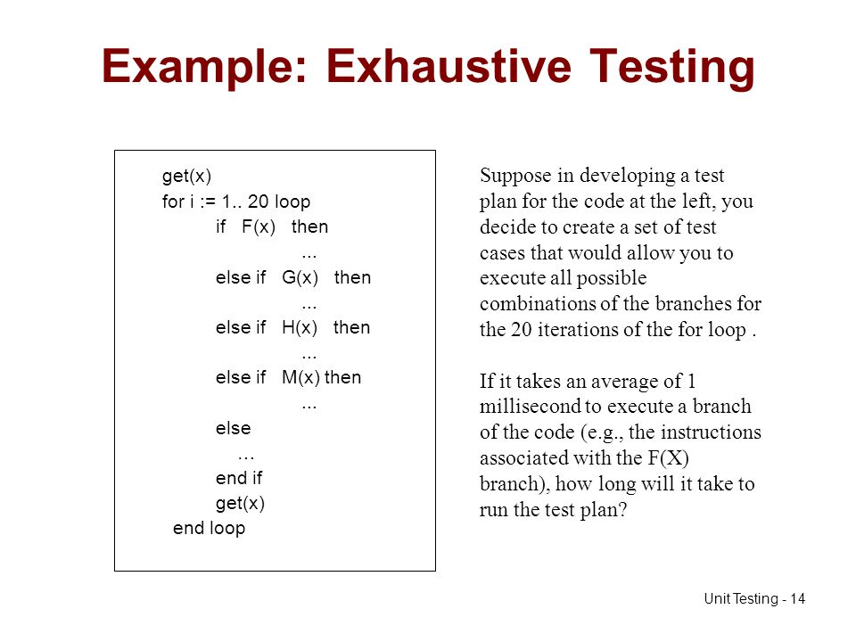 Example: Exhaustive Testing