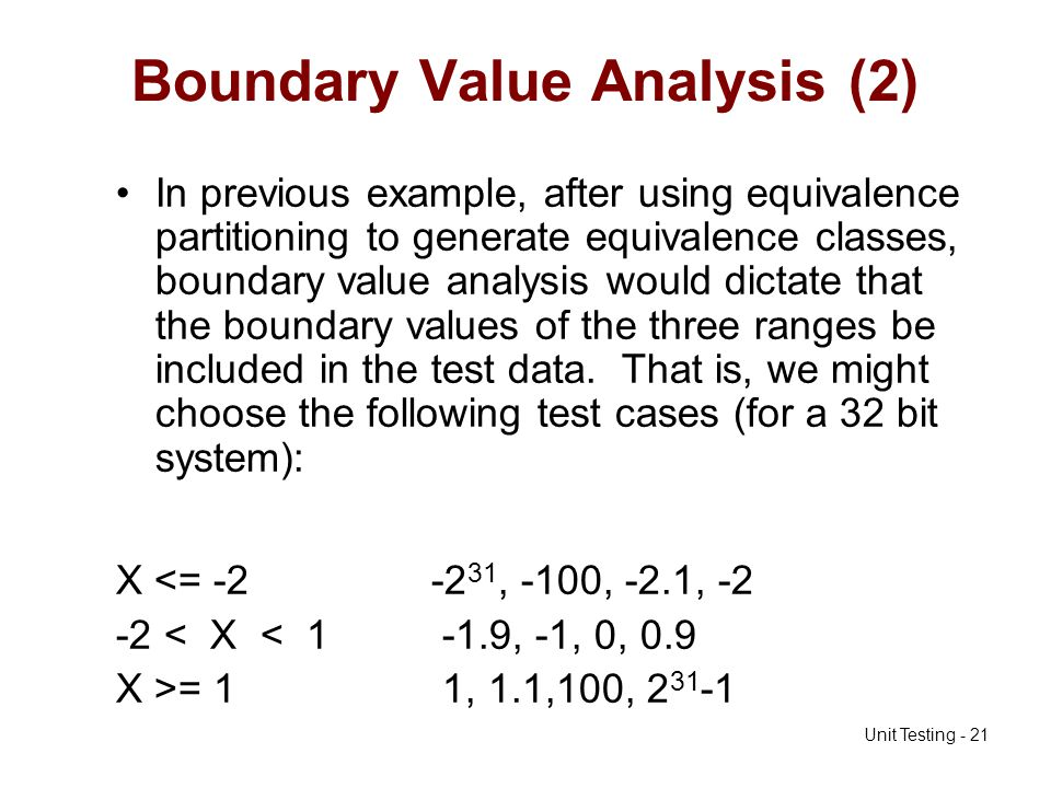 Boundary Value Analysis (2)
