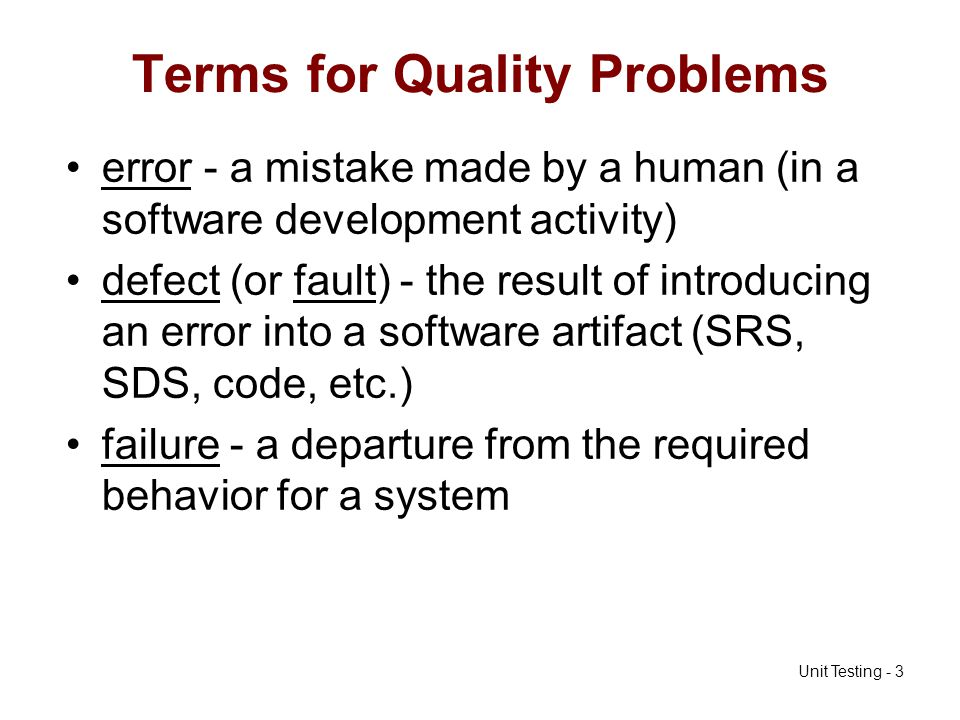 Terms for Quality Problems