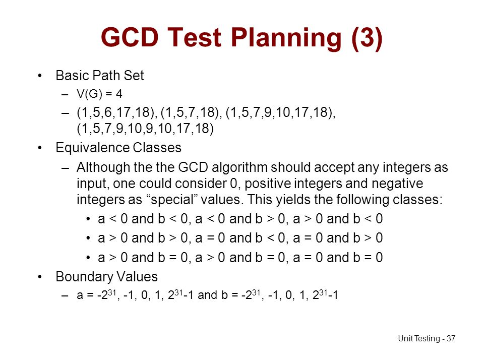 GCD Test Planning (3) Basic Path Set