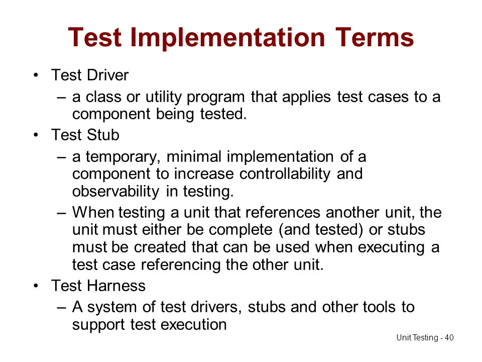 Test Implementation Terms