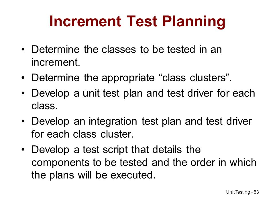 Increment Test Planning
