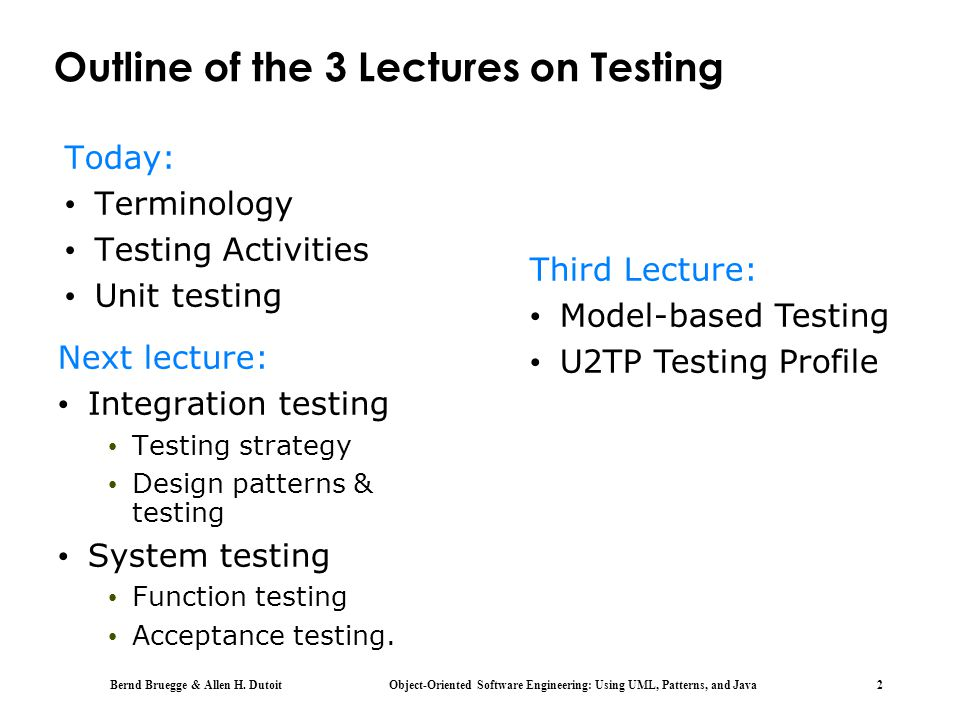 Outline of the 3 Lectures on Testing