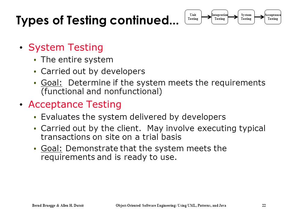 Types of Testing continued...