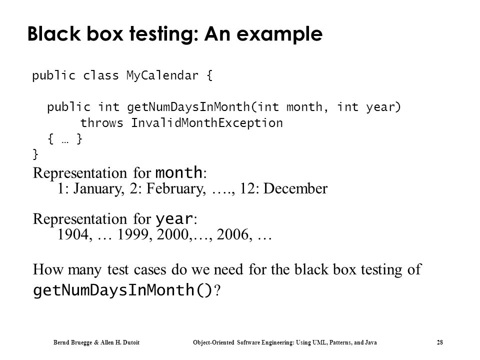 Black box testing: An example