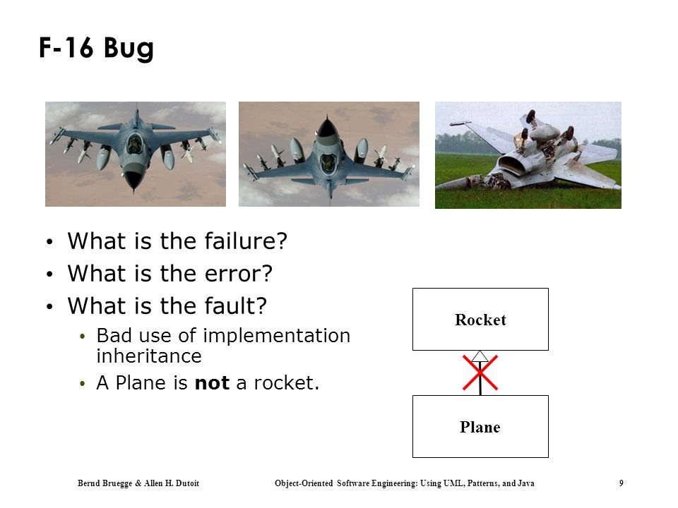 F-16 Bug What is the failure What is the error What is the fault