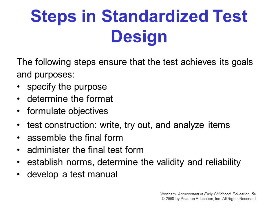 Steps in Standardized Test Design