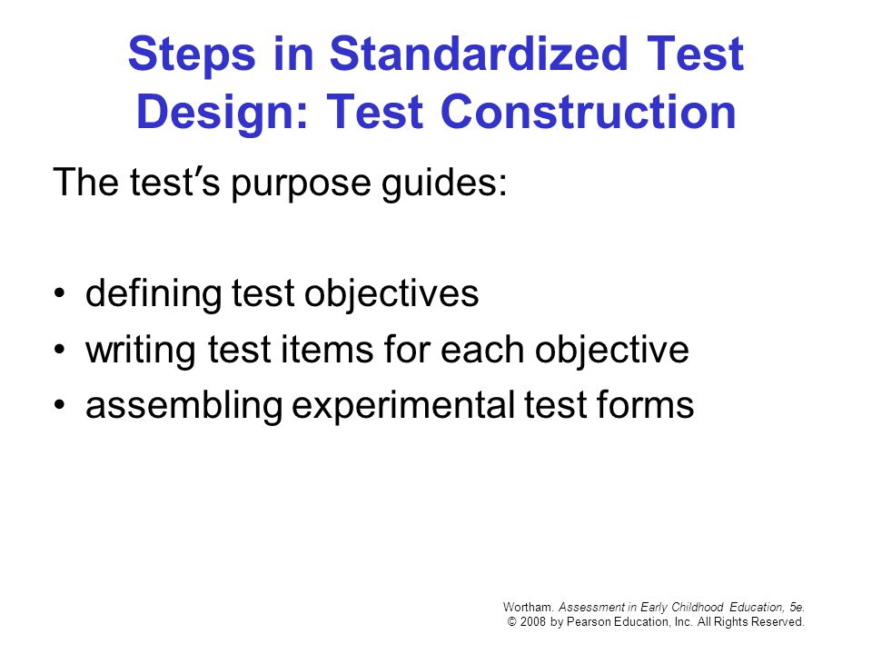 Steps in Standardized Test Design: Test Construction