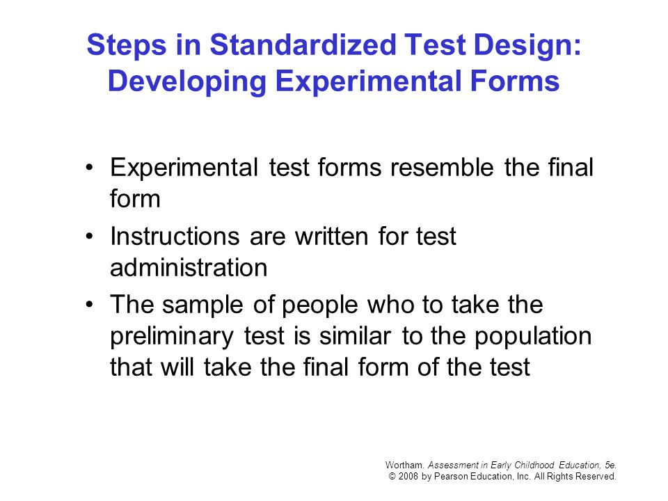 Steps in Standardized Test Design: Developing Experimental Forms