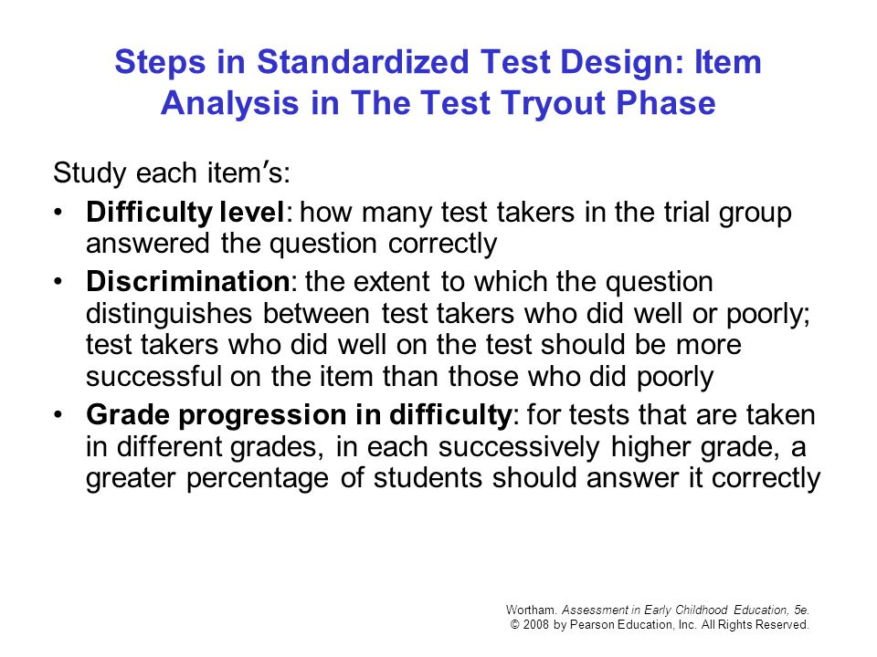 Steps in Standardized Test Design: Item Analysis in The Test Tryout Phase