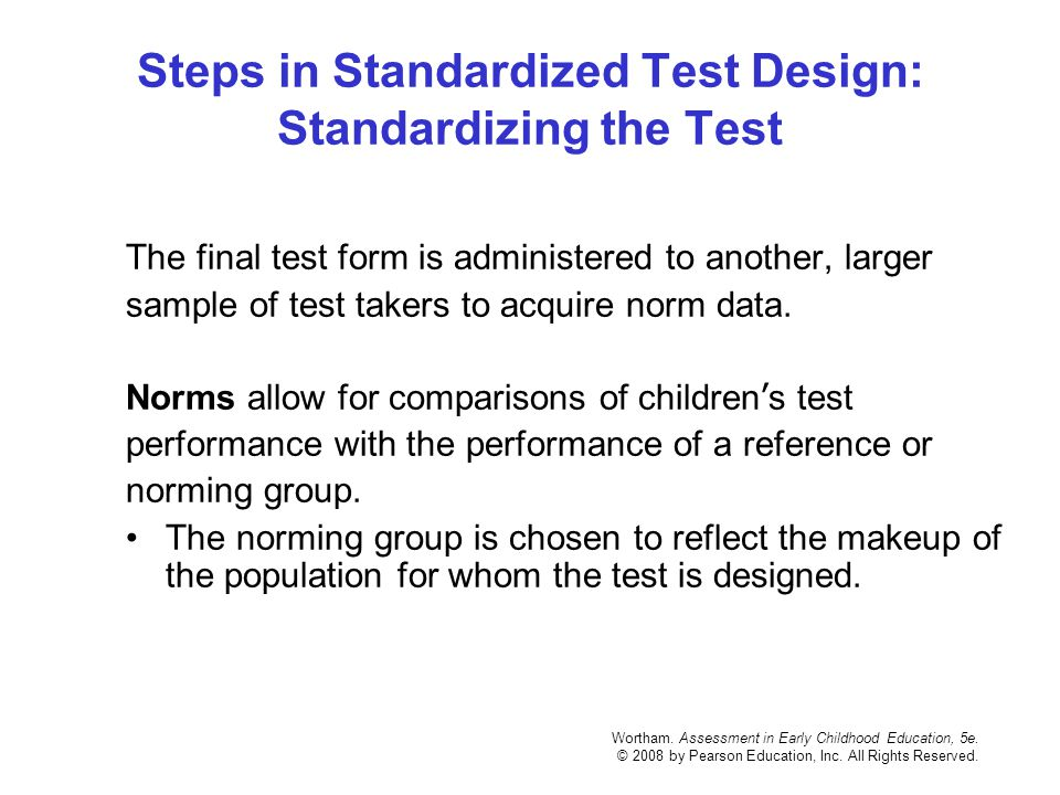 Steps in Standardized Test Design: Standardizing the Test