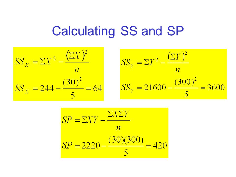 Calculating SS and SP