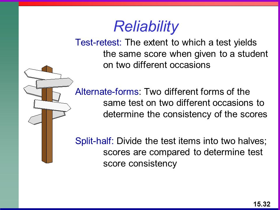 Reliability Test-retest: The extent to which a test yields the same score when given to a student on two different occasions.