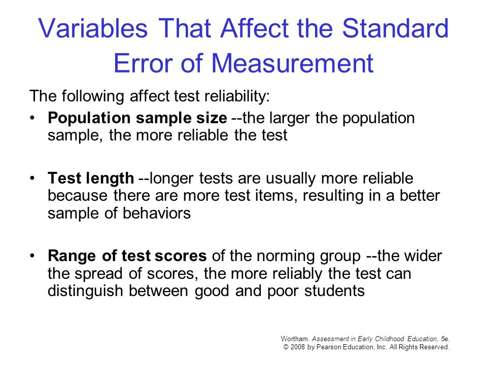 Variables That Affect the Standard Error of Measurement