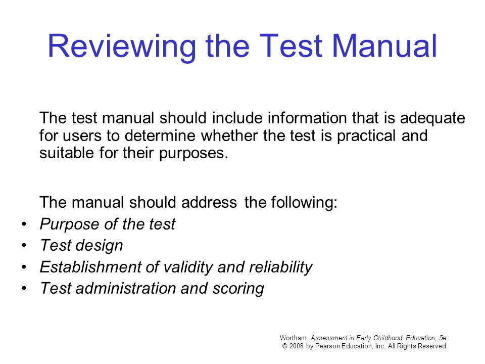 Reviewing the Test Manual