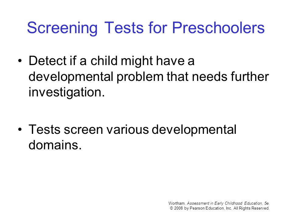 Screening Tests for Preschoolers