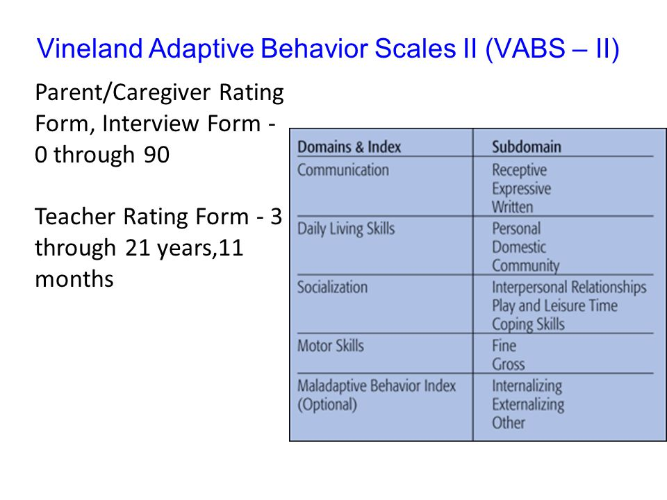 Vineland Adaptive Behavior Scales II (VABS – II)