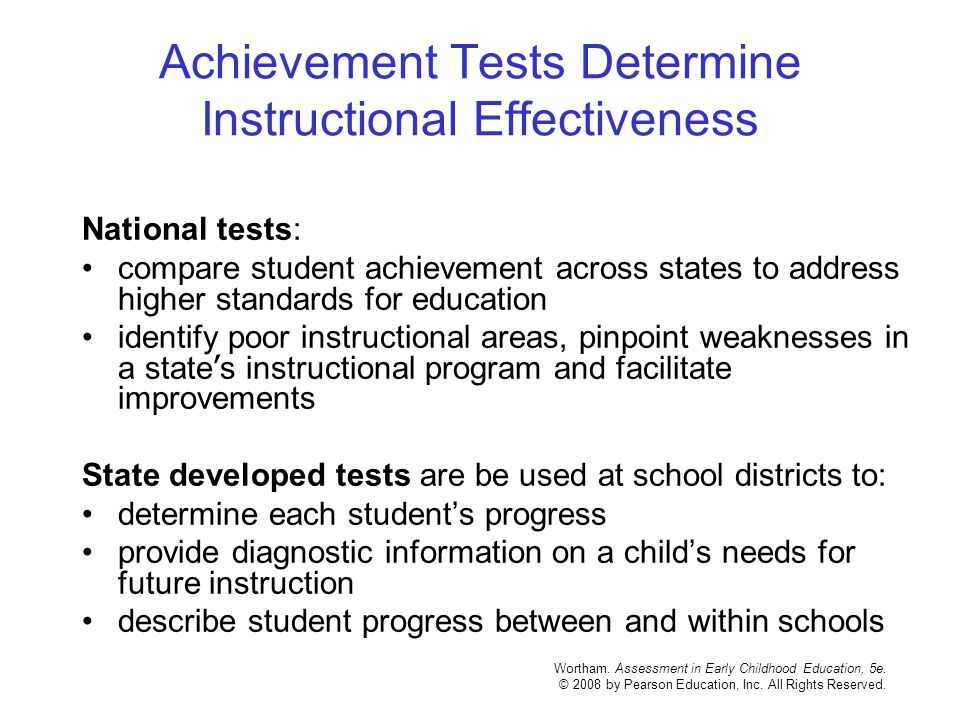 Achievement Tests Determine Instructional Effectiveness