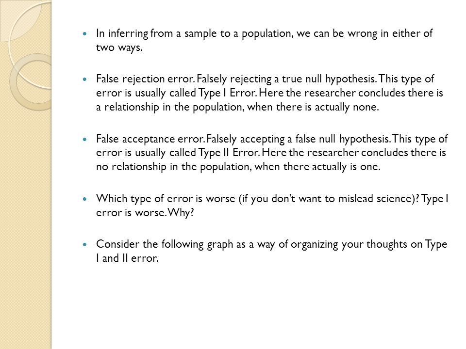 In inferring from a sample to a population, we can be wrong in either of two ways.