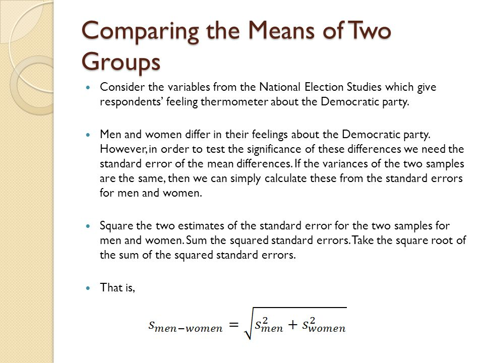 Comparing the Means of Two Groups