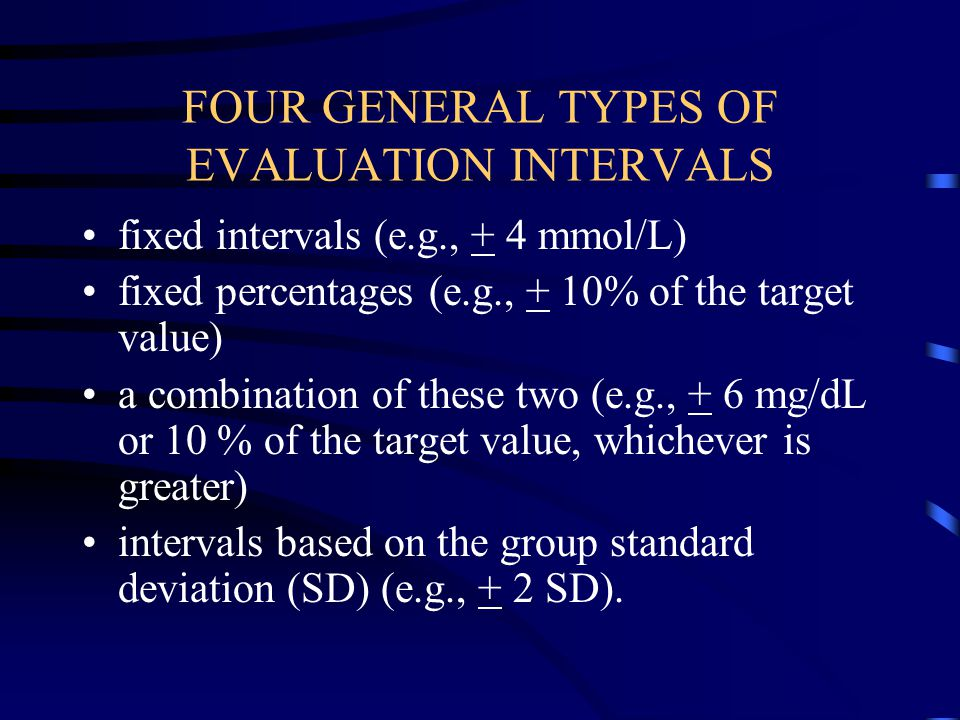 FOUR GENERAL TYPES OF EVALUATION INTERVALS
