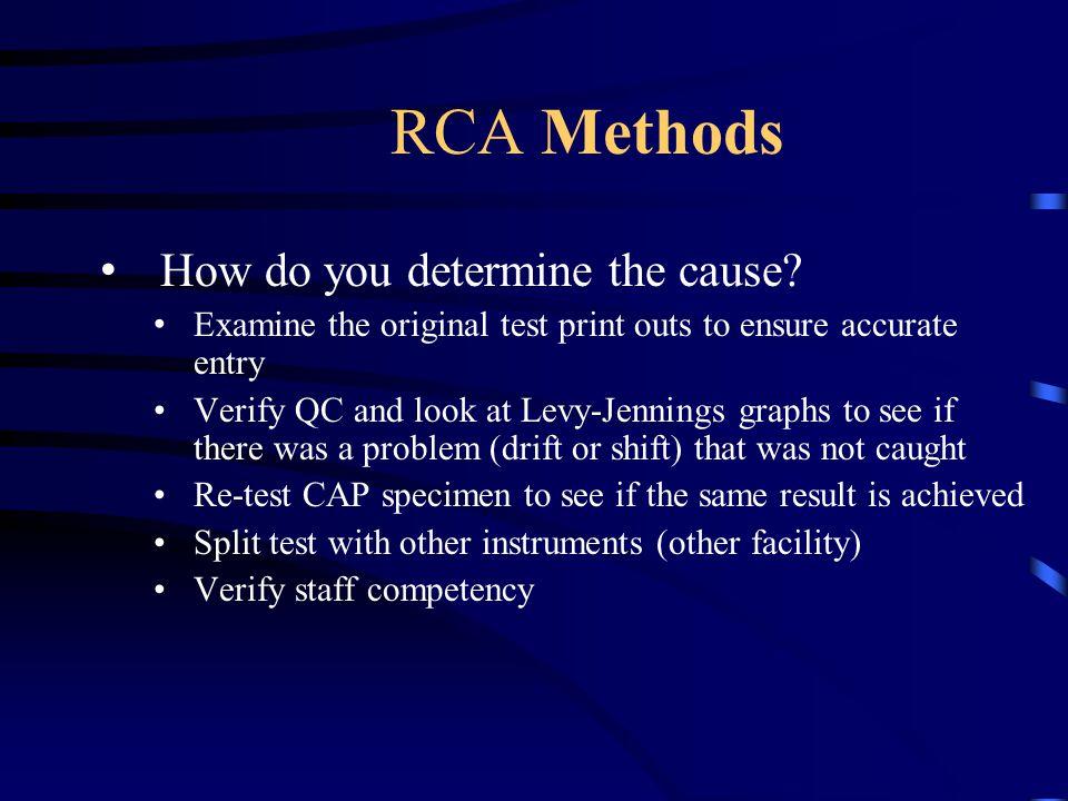 RCA Methods How do you determine the cause