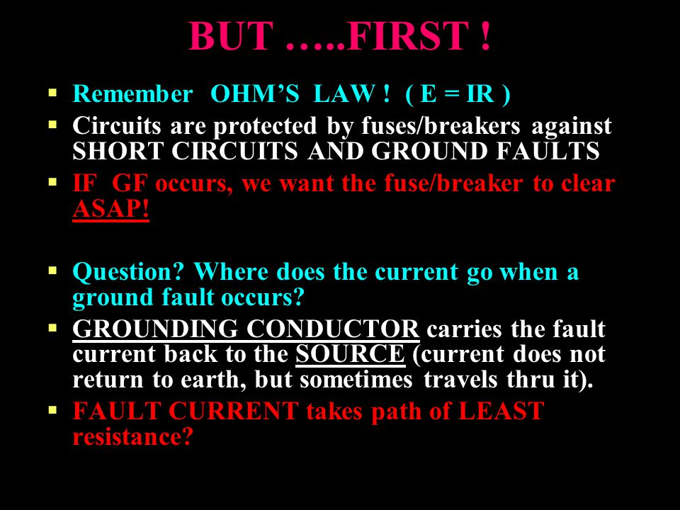 BUT …..FIRST ! Remember OHM'S LAW ! ( E = IR )