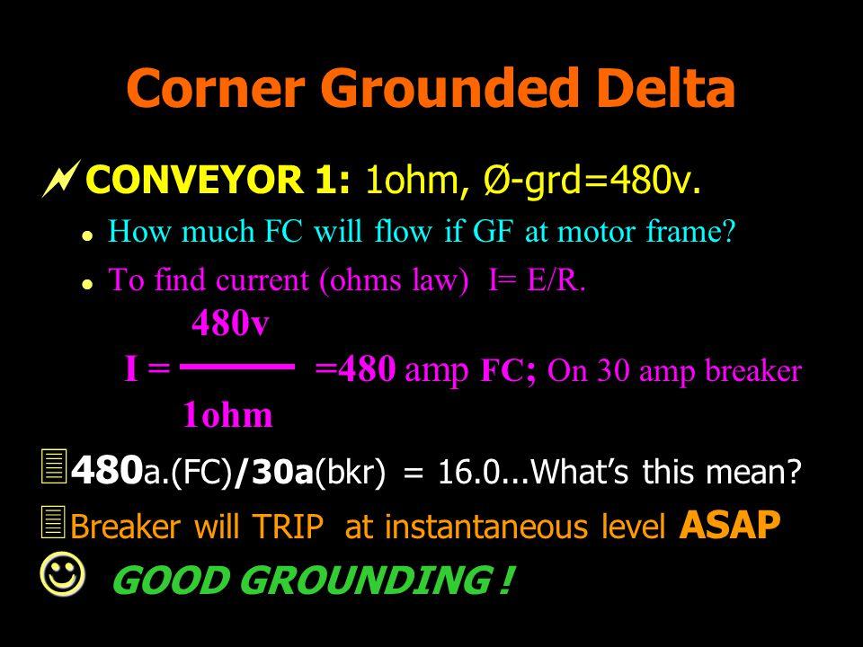 Corner Grounded Delta CONVEYOR 1: 1ohm, Ø-grd=480v.