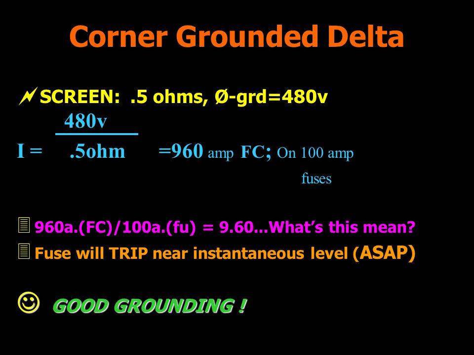 Corner Grounded Delta I = .5ohm =960 amp FC; On 100 amp fuses