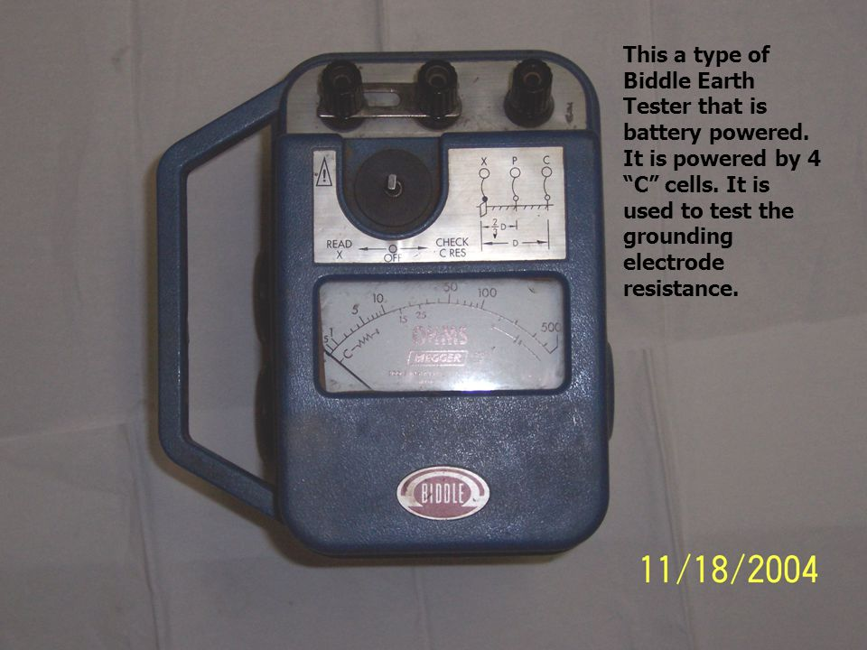 This a type of Biddle Earth Tester that is battery powered