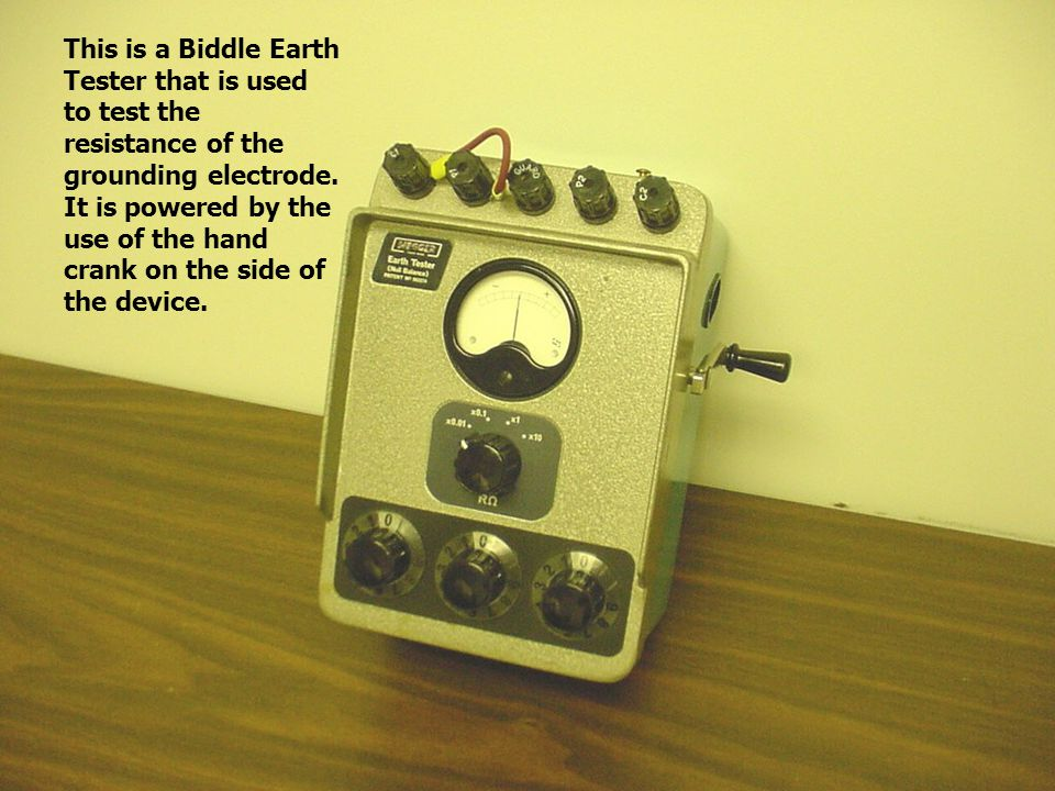 This is a Biddle Earth Tester that is used to test the resistance of the grounding electrode.
