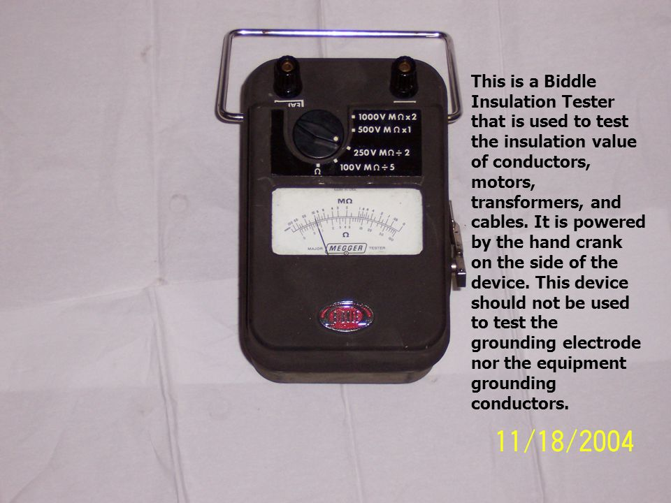 This is a Biddle Insulation Tester that is used to test the insulation value of conductors, motors, transformers, and cables.