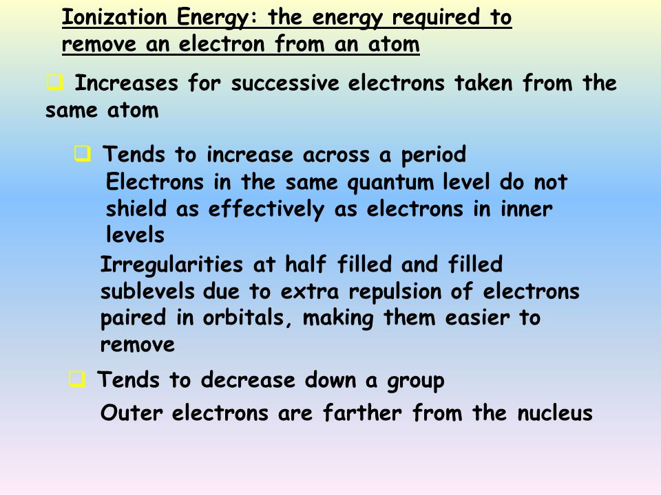 Ionization Energy: the energy required to remove an electron from an atom