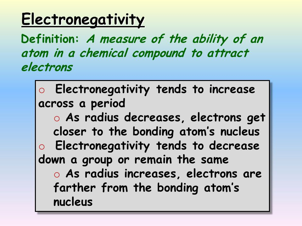 Electronegativity Definition: A measure of the ability of an atom in a chemical compound to attract electrons.